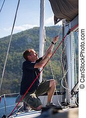 ropes., vitorlázás, jacht, luxery, vontatás, ember, boat.