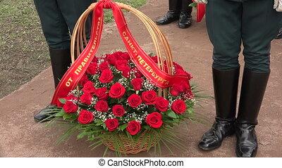 roses., kosár, piros