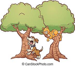 rossz, fa, ugatás, feláll