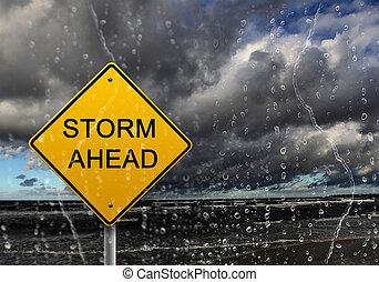 rossz idő, figyelmeztetés, előre, aláír