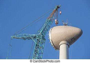 rotor, épület, házhely, emelés, szerkesztés, turbina, felteker