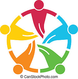 round., csoport, emberek, 5, v, csapatmunka