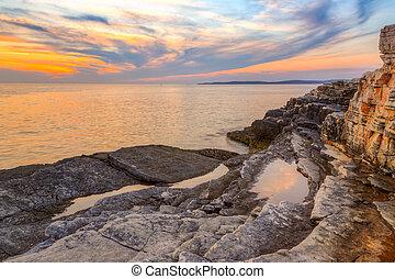 rt, napkelte, felett, tenger, kamenjak