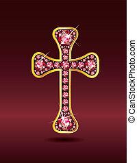 rubinvörös, keresztény, kereszt, arany
