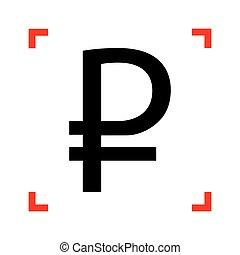 ruble, kanyarodik, cégtábla., összpontosít, háttér., fekete, iso, fehér, ikon