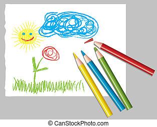rudacska, gyermekek, színezett, rajz
