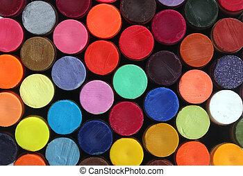 rudacska, izbogis, evez, művészet, élénk, színes, fényes, -eik, befest, rajzkréta, viasz, elrendez, bemutatás, oszlop