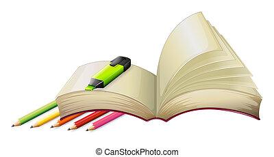 rudacska, könyv, üres, highlighter