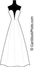 ruha, ábra, háttér., vektor, esküvő, fehér