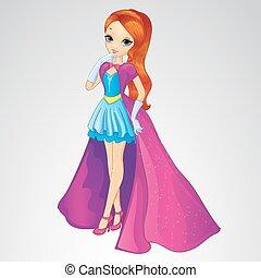ruha, hosszú bőr, hercegnő, kék