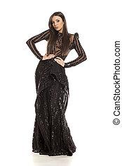 ruha, nő, este, fekete