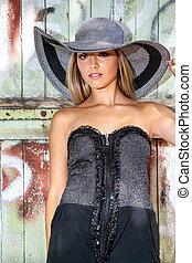 ruha, nő, kalap, nyár, fekete, rövid, gyönyörű