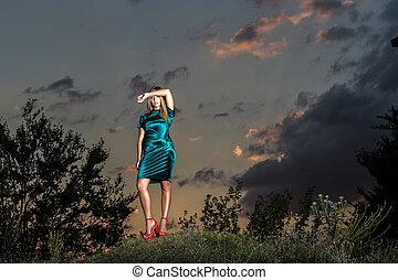 ruha, nő, nyár, napnyugta, gyönyörű