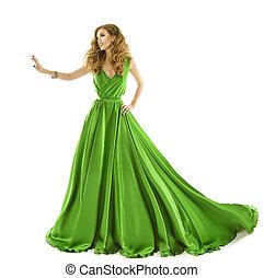 ruha, nő, talár, kéz, felett, elszigetelt, hosszú, mód, zöld háttér, érint, fehér, selyem, formál