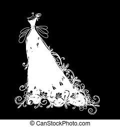 ruha, skicc, tervezés, -e, esküvő