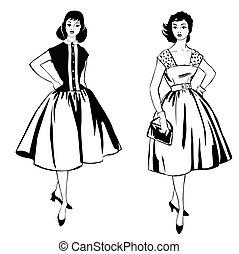 ruha, style:, ruhaanyag, leány, woman., 1960's, retro, elegáns, mód, öltözött, fél