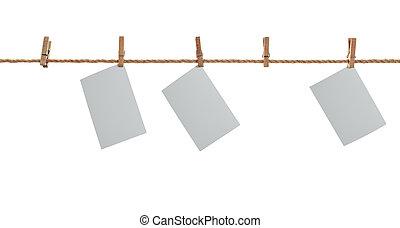 ruhaszárító kötél, clothespins., fénykép, fehér, függő, paper.