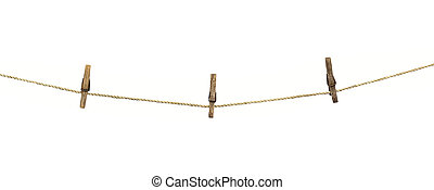 ruhaszárító kötél, háttér, elszigetelt, fehér, ruhaszárító csipeszek