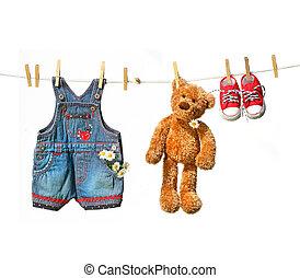 ruhaszárító kötél, teddy-mackó, gyermekek, hord, öltözék