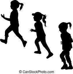 running., körvonal, gyerekek