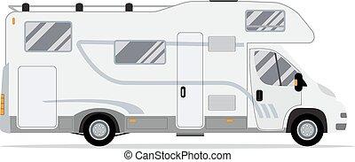 rv, mozgatható, truck., otthon