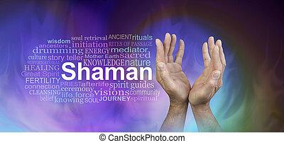 sámán, szó, felhő, transzparens, hím kezezés
