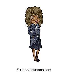 sáncol bőr, nő, karikatúra