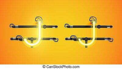 sárga, charcter, izzó, el, neon, gyakorlatias