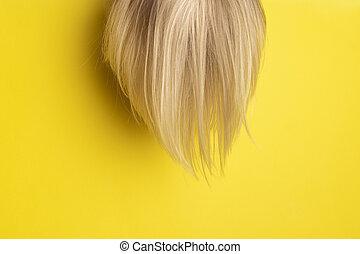 sárga, feláll, egészséges, másol, haj, természetes, fényes, háttér., hair., szőke, gúnyol, hely