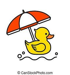 sárga kacsa, gumi, tengerpart, ikon, esernyő