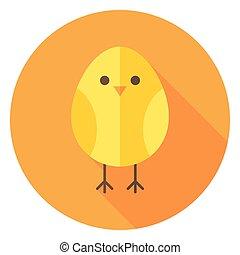 sárga, karika, hosszú, csirke, árnyék, ikon