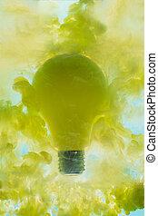 sárga, levitates, gumó, idea., haze., fogalom, fény