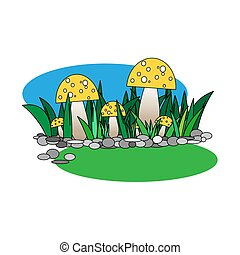 sárga, mérges gomba, fű, tisztás, blue háttér