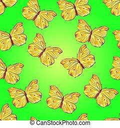 sárga, seamless, lepke, struktúra