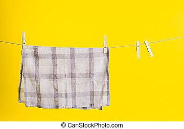 sárga, után, design., gúnyol, szolgáltatás, konyha, mosás, jó, törülköző, háttér., felett