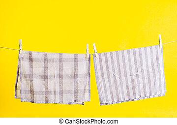 sárga, után, száradó, mosás, törülköző, elszigetelt