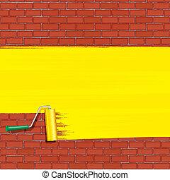 sárga, wall., vektor, ecset, tégla, festmény, hajcsavaró