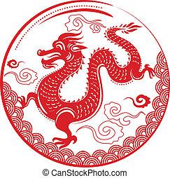 sárkány, új, kínai, év