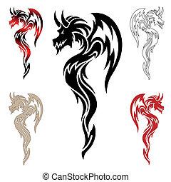 sárkány, tetovál, törzsi, vektor