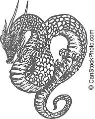 sárkány, tinta, keleti, rajz