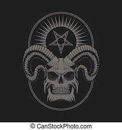 sátáni, koponya, ördög, ábra, vektor