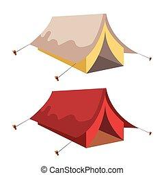 sátor, ábra, fehér, elszigetelt, háttér, vektor