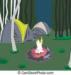 sátor, erdő, félhomály, máglya