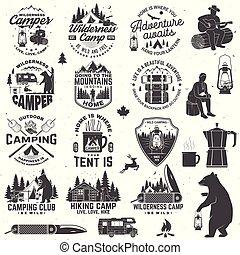 sátor, lenni, tervezés, jel, erdő, vad, tábortűz, hord, árnykép, bélyeg, nyomtat, vadon, kés, fogalom, patch., vector., jelvény, vagy, free., kúszónövény, camp., szüret, nyomdászat, zseb, ing