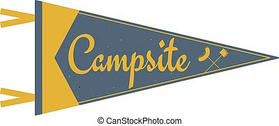 sátor, táborhely, tábor, design., öreg, jelkép, pennant., kempingezés, nyár, fa., lobogó, jelzőzászló, template., vagy, felfedező, kaland, szüret, mód, utazás, táborhely