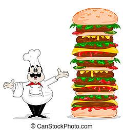 séf, cheeseburger, karikatúra