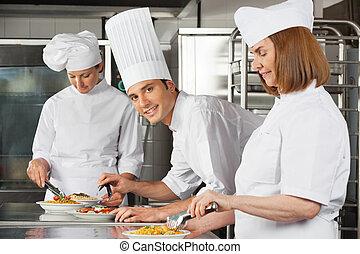 séf, colleagues, hím, dolgozó, konyha