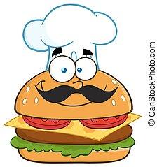 séf, hamburger, mosolygós, betű