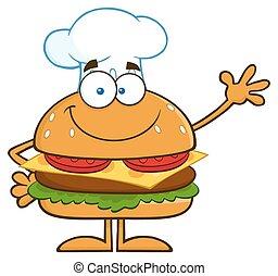 séf, hullámzás, mosolygós, hamburger