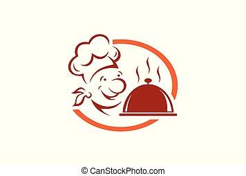 séf, jel, konyhafőnök, étterem